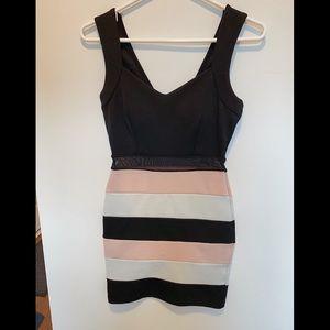 pink, black, & white stripe body con hoco dress!